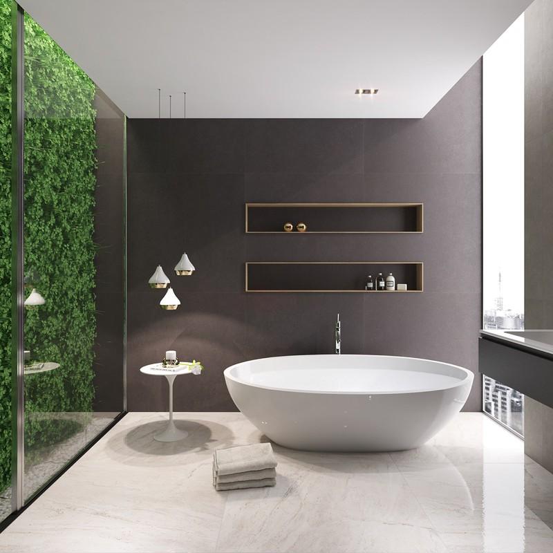 Phòng tắm đơn giản nhưng lại là nơi thư giãn tuyệt vời nhờ bồn tắm rộng và sang trọng.