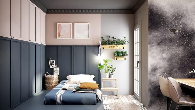 Phòng có thiết kế mở được sơn màu xanh khác hoàn toàn với tông màu xám của phòng ngủ đầu tiên