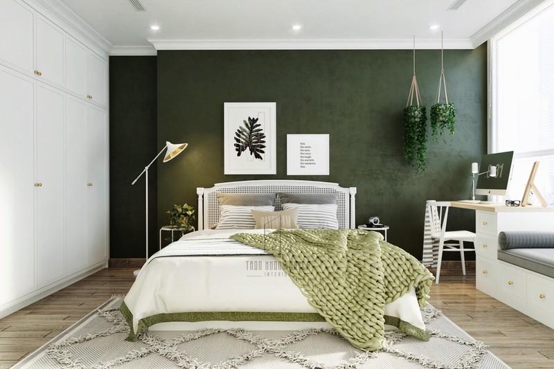 Xanh và trắng là kiểu trang trí thường thấy trong những mẫu nội thất phòng ngủ chủ đề về thiên nhiên