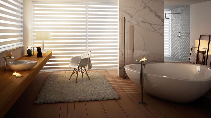 Hình dạng tam giác tròn của bồn tắm trông thoải mái và gợi cảm giác yên bình, tự nhiên.