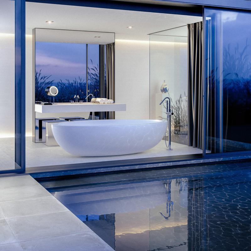 Khi có ánh đèn chiếu vào bồn tắm in hình xuống mặt nước tạo ra khung cảnh lung linh, huyền ảo.