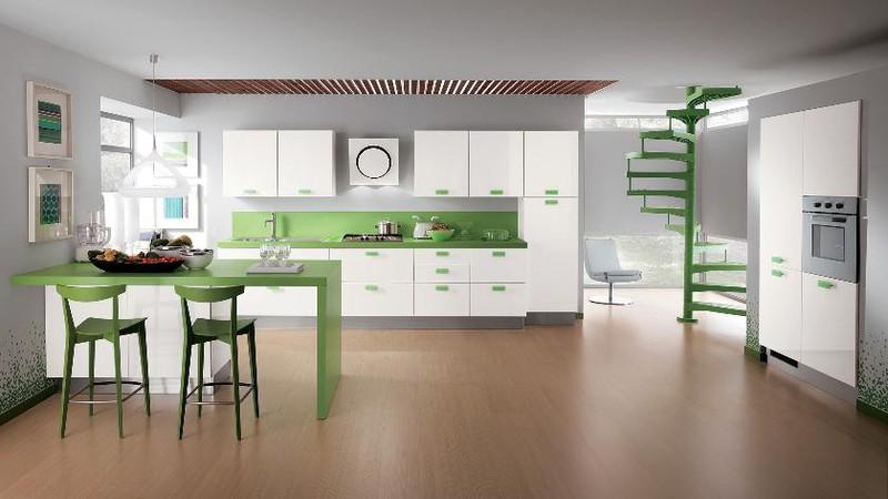 Hai điểm nhấn màu sắc trắng, xanh lá cây trong căn bếp tạo nên một hình ảnh rất yên bình, êm dịu.