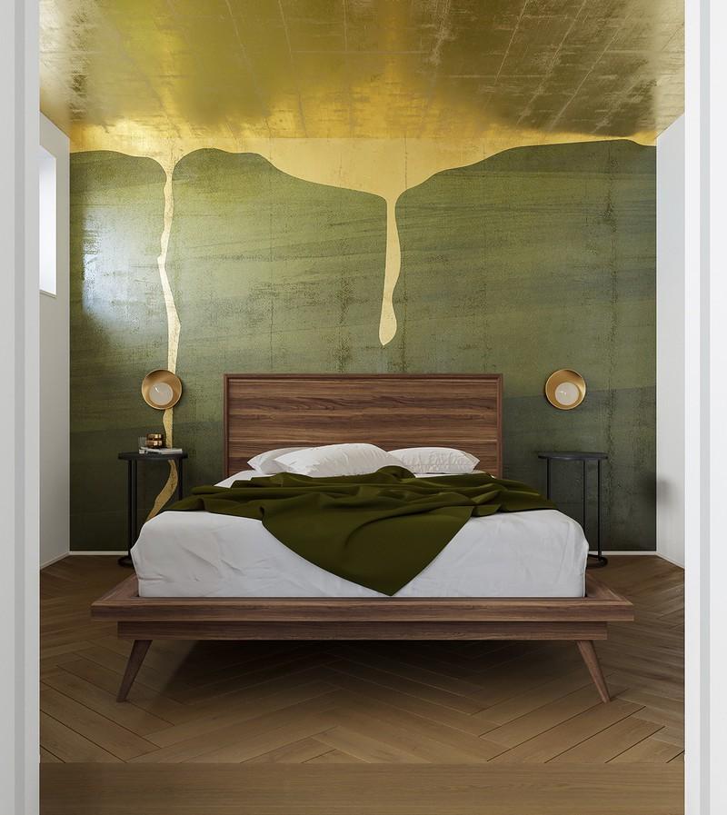 Bức tường đầu giường trang trí như một bức tranh trừu tượng đang còn dang dở
