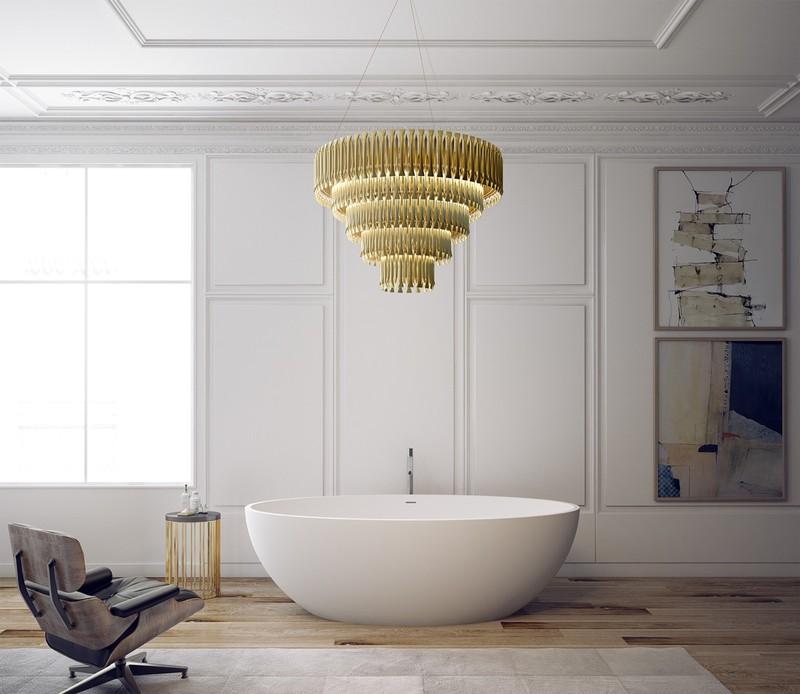 Một bồn tắm hình trứng trở thành điểm nhấn trong phòng tắm. Một chiếc vòi tinh tế đặt ở trung tâm càng khiến nó trở nên thu hút.