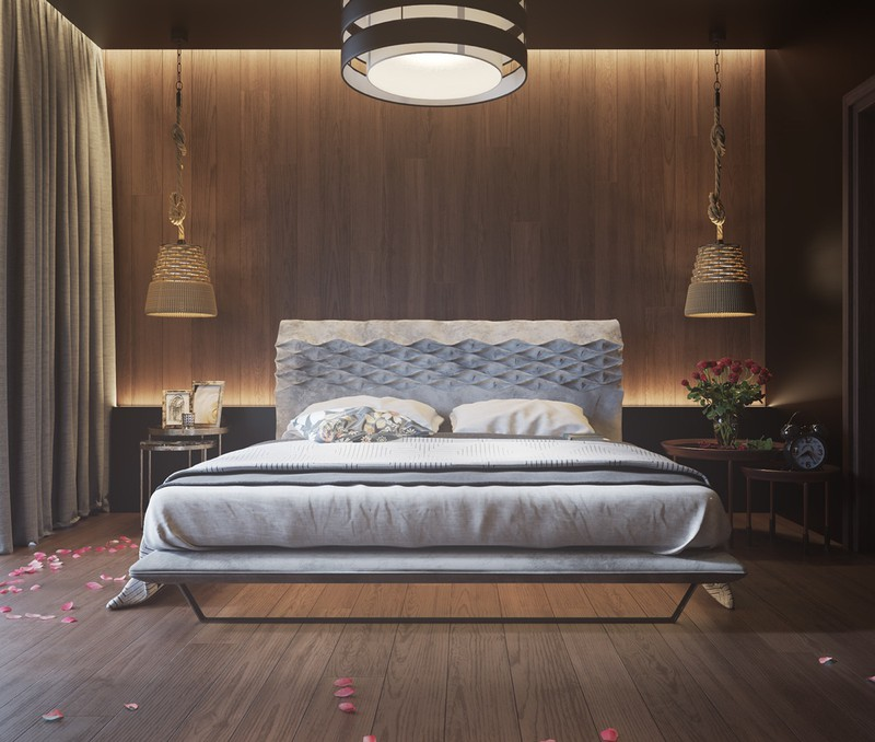 Tường bằng gỗ kết hợp với đèn, góp phần mang đến một phòng ngủ lãng mạn