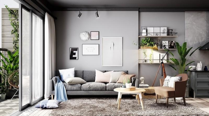 Phòng khách nổi bật với tông màu xám trung tính, thỉnh thoảng xen kẽ một vài gam màu xanh trên gối tựa và khăn