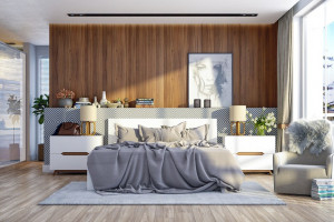 Trang trí phòng ngủ bằng tường gỗ ấn tượng