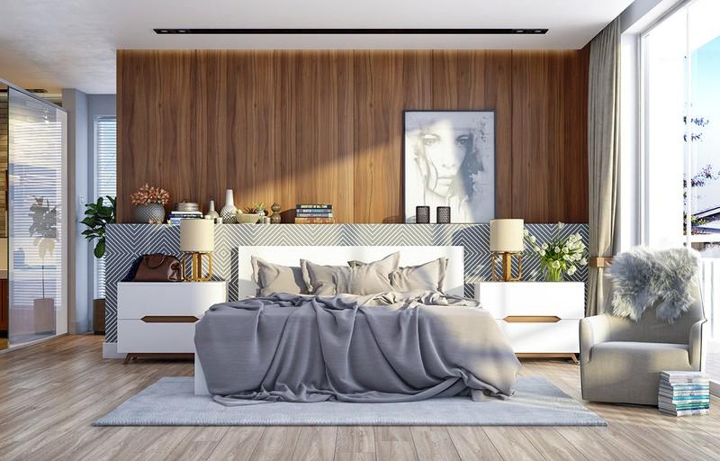 Phòng ngủ tiếp theo sử dụng sóng gỗ để tăng yếu tố thẫm mỹ