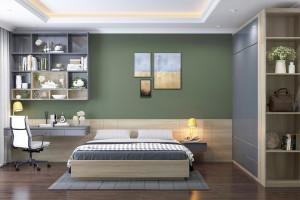 Trang trí phòng ngủ màu xanh căng tràn sức sống