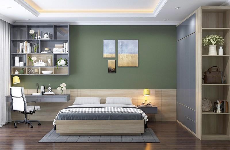 Tiếp tục là chủ đề tường màu xanh lá nhưng màu xanh ở phòng này có sắc độ nhạt hơn, dễ bố trí trong nhiều phong cách khác nhau