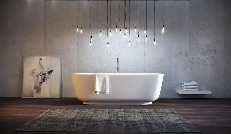 Chùm đèn treo thả từ trần xuống kết hợp với màu của nội thất xung quanh tạo ra không gian nhiều cảm xúc.