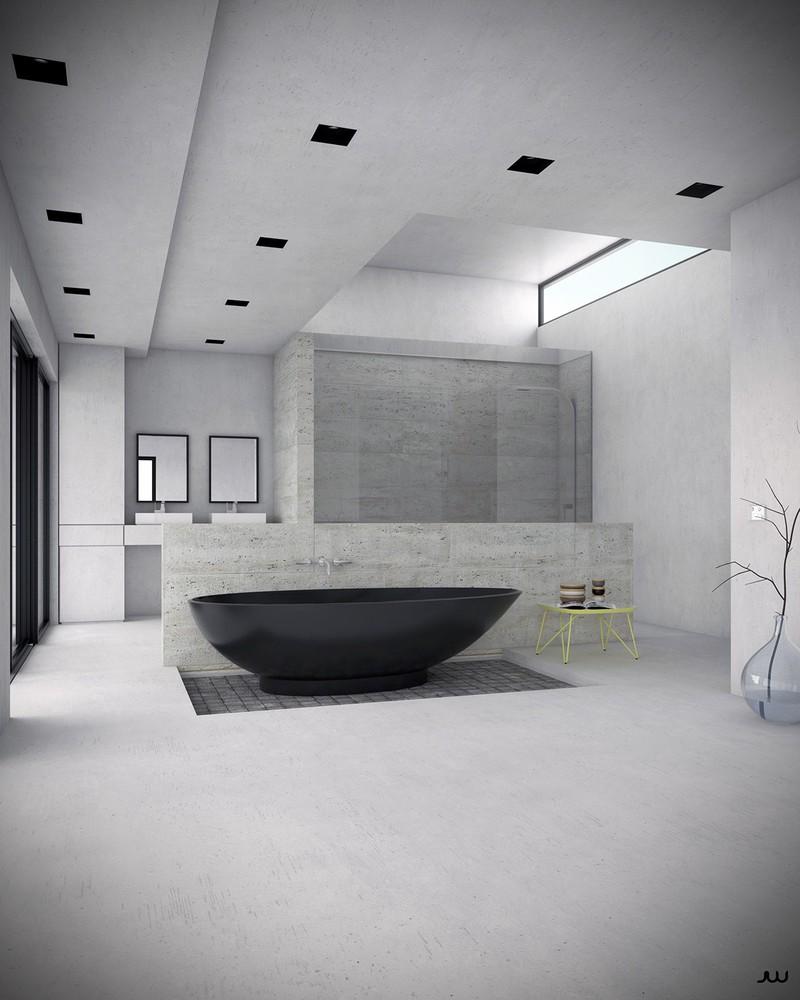 Với tông màu đen, bồn tắm gây ấn tượng như một quý ông lịch lãm vừa bước ra từ bản vẽ.