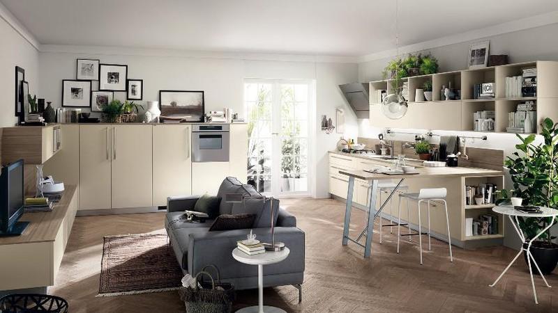 Tủ bếp làm bằng gỗ công nghiệp mang đến cảm giác rộng và thoáng cho căn phòng.