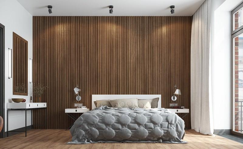 Các tấm gỗ xếp dọc là một cách khác để trang trí cho tường đầu giường. Kiểu trang trí này đã rất phổ biến trong những năm gần đây và dự báo còn kéo dài trong vài năm tới.
