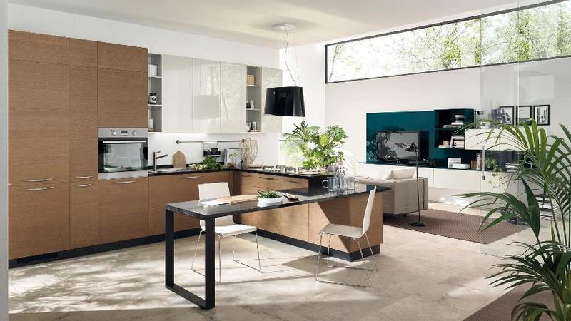 Sử dụng cửa sổ, cửa kính áp trần…là những cách phổ biến để lấy ánh sáng cho nhà bếp.