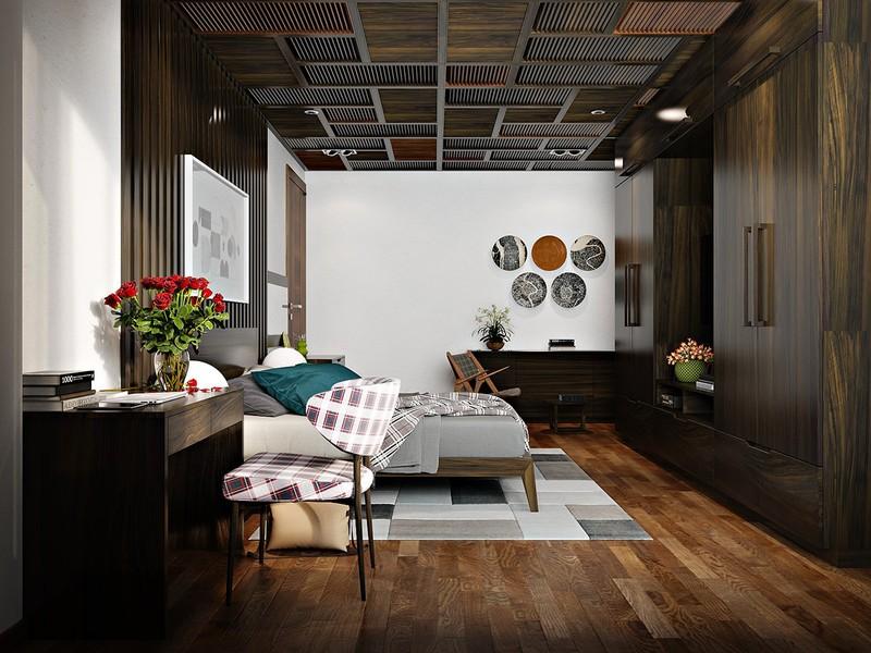 Thiết kế nội thất phòng ngủ hiện đại và độc đáo hơn khi có sự góp mặt của tường gỗ