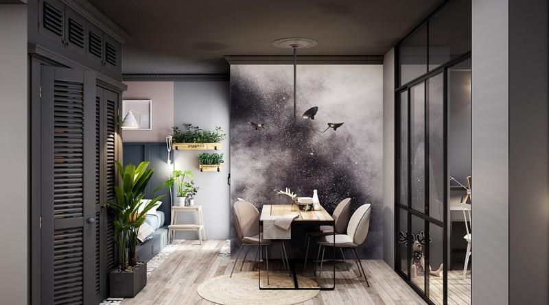 Cây xanh mang lại những điểm nhấn thú vị, giúp căn hộ không bị tối hay bí bách