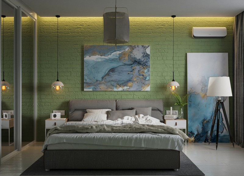 Màu xanh lá cây sơn trên gạch thô mang lại thêm chiều sâu cho thiết kế phòng