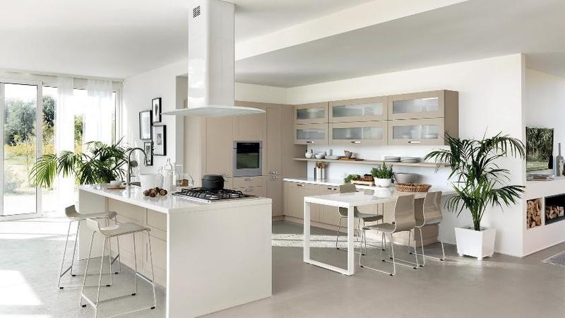 Gỗ công nghiệp kết hợp với màu trắng của sơn bóng giúp căn phòng không rơi vào sự đơn điệu.
