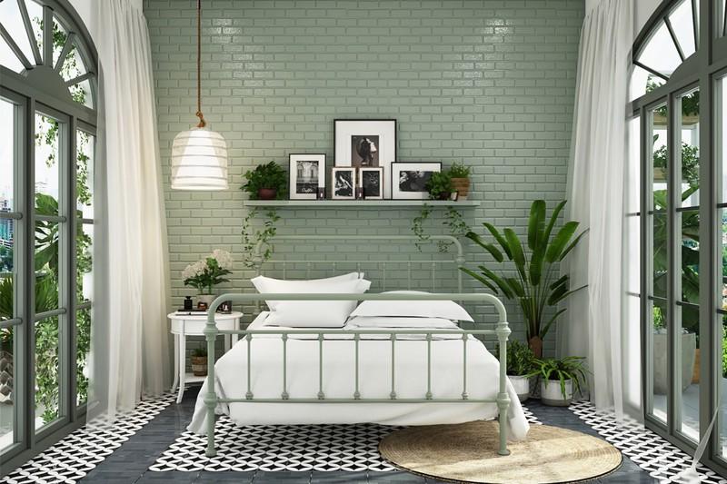 Không chỉ có màu sơn, sử dụng cây cảnh cũng là một cách để tăng thêm sức sống cho căn phòng