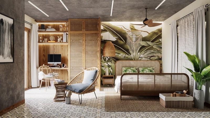 Một phòng ngủ mang chủ đề về rừng nhiệt đới với các mảng màu xanh được thêm thắt vừa đủ trên tường và phía cuối giường