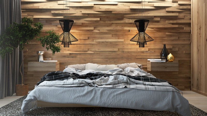 Đèn làm tăng tính nghệ thuật cho bức tường gỗ