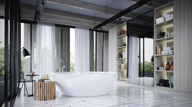 Bồn tắm làm bằng gạch men là mảnh ghép hoàn hảo để hoàn thiện một phòng tắm thiết kế mở với nhiều ánh sáng tự nhiên.