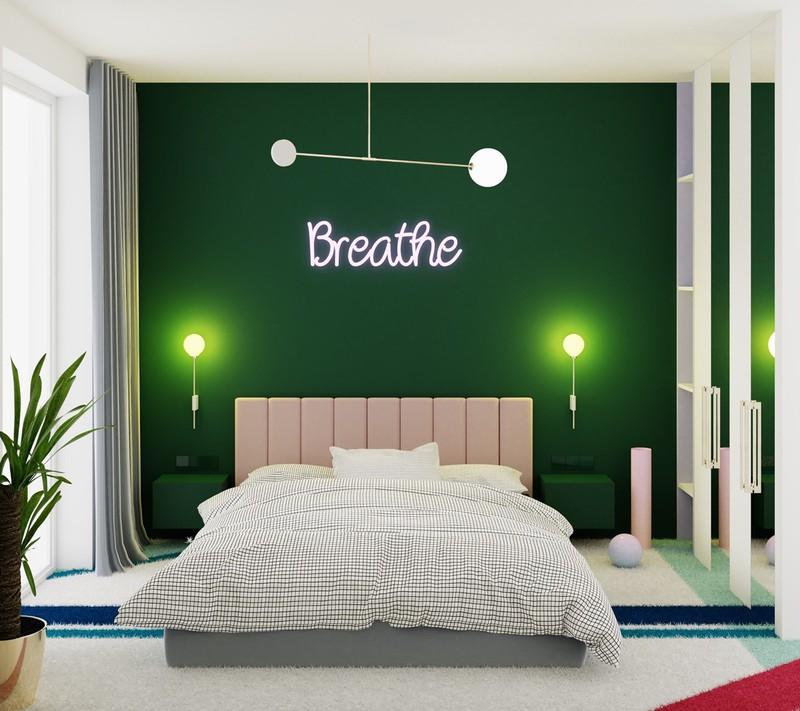 Bức tường trang trí sáng tạo được làm nổi bật bằng đèn