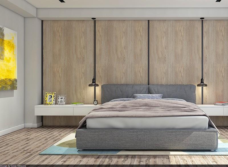 Ván ốp đầu giường sạch sẽ, và là lựa chọn trang trí ít tốn kém