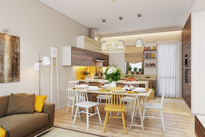 Bộ bàn ghế màu trắng có duy nhất một chiếc màu vàng là điểm độc đáo cho phòng ăn