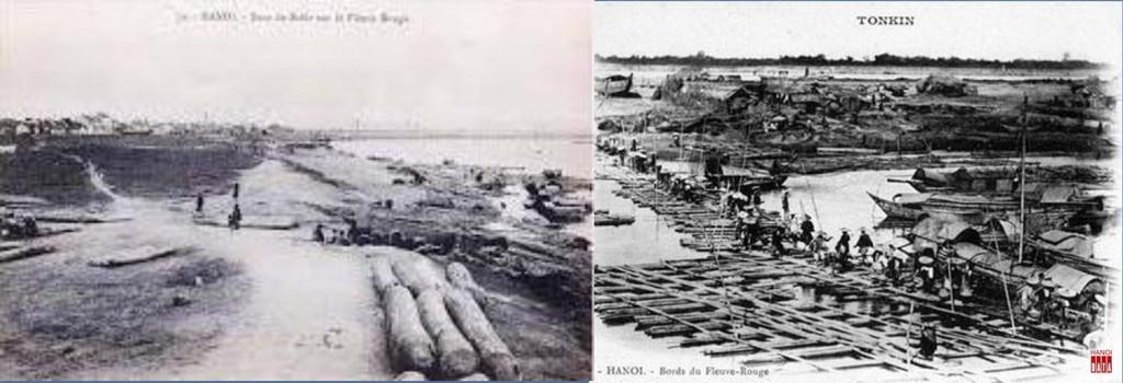 Bờ sông và  cầu nổi vượt sông khi mùa nước cạn cuối TK 19