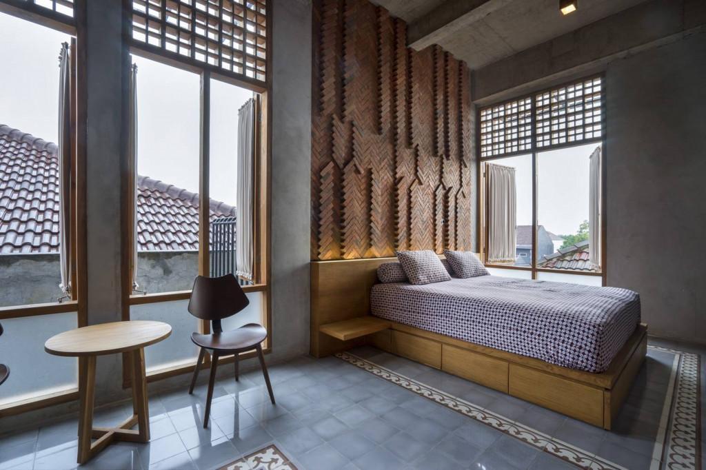 """Phòng ngủ độc đáo với """"bức tranh"""" độc đáo bằng gạch"""