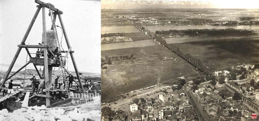Hai hình ảnh về cầu Long Biên, lúc khởi công năm 1898 thi công đóng cọc mố cầu và cây cầu sau khi hoàn thành