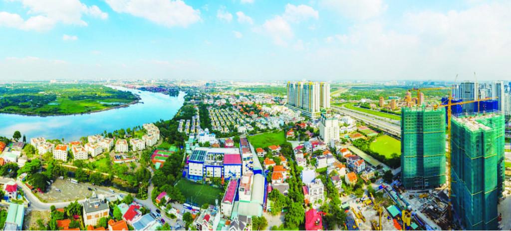 Kiến trúc cao tầng khu đô thị mới hiện đại khu vực ven đô thị tại TPHCM