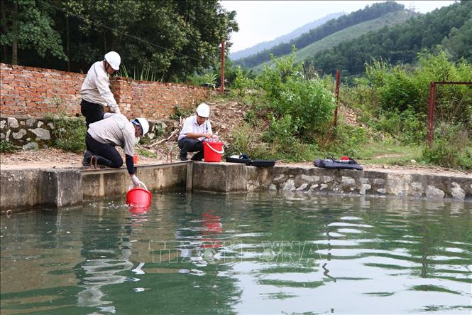 Các lực lượng chức năng tiến hành lấy mẫu nước tại Công ty cổ phần đầu tư nước sạch Sông Đà để kiểm tra, kiểm định. Ảnh: Thanh Hải/TTXVN
