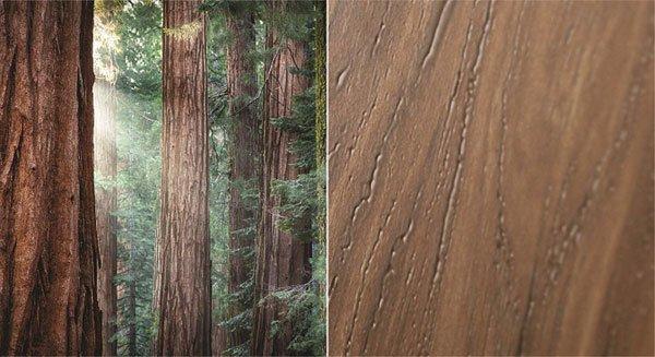 Gạch hiệu ứng điêu khắc tái hiện vân gỗ, được truyền cảm hứng từ vẻ đẹp của rừng cây lá kim cổ thuộc vườn quốc gia Yosemite, nước Mỹ
