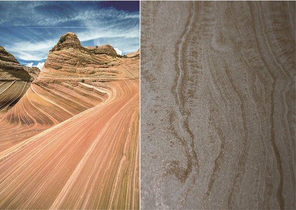 Gạch hiệu ứng điêu khắc kết hợp hiệu ứng hạt đường tái hiện vân đá sa thạch, được truyền cảm hứng từ nét kỳ vĩ huyền diệu của sườn núi Kenab Coyote Butte, bang Arizona nước Mỹ