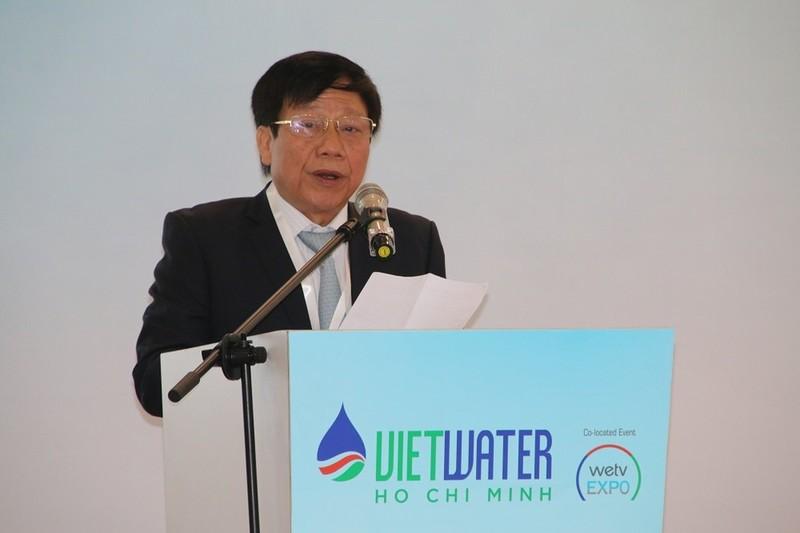 Anh hùng lao động Cao Lại Quang - Nguyên Thứ trưởng thường trực Bộ Xây dựng, Chủ tịch Hội Cấp thoát nước Việt Nam phát biểu tại buổi lễ