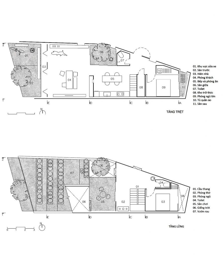 Bản vẽ mặt bằng ngôi nhà của TAA Design.