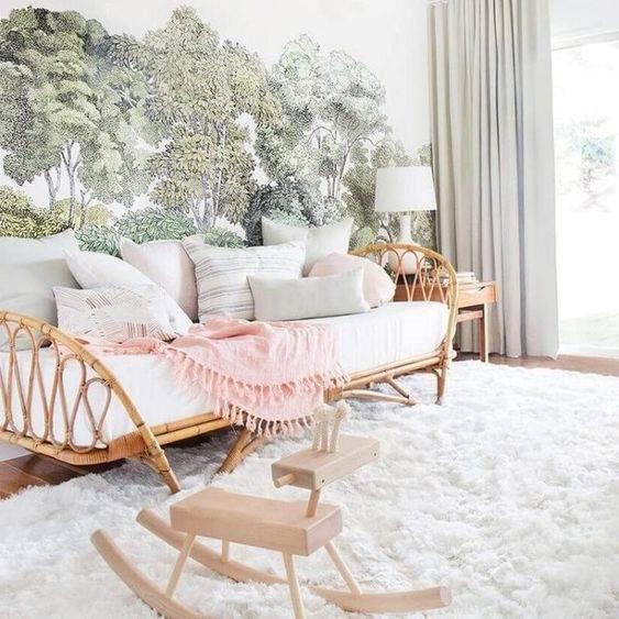 Không chỉ riêng phòng khách, phòng ngủ cũng có thể đặt những chiếc ghế sofa mây tạo không gian thư giãn cho gia chủ sau những giờ làm việc mệt mỏi.