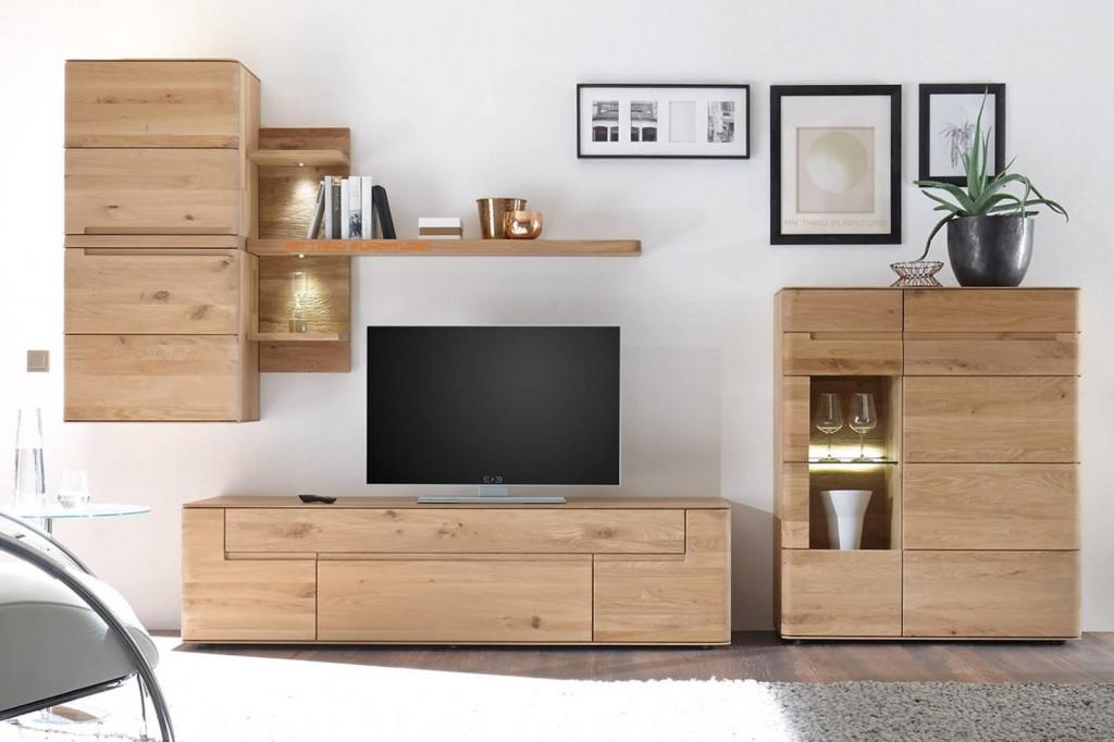 Kệ tivi bằng gỗ sồi kết hợp với tủ đựng vừa hiện đại, độc đáo vừa ấm áp