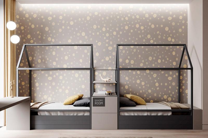 Hai chiếc giường đôi nằm đối diện nhau, thông một cái tủ và ngăn kéo được đặt ở giữa. Ngăn kéo dưới mỗi giường cũng cung cấp thêm không gian lưu trữ để mỗi đứa trẻ có nơi cất đồ đạc.