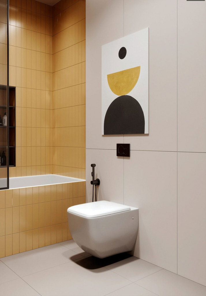 Khu vực bồn tắm trang trí bằng màu vàng để phân biệt với các khu vực còn lại