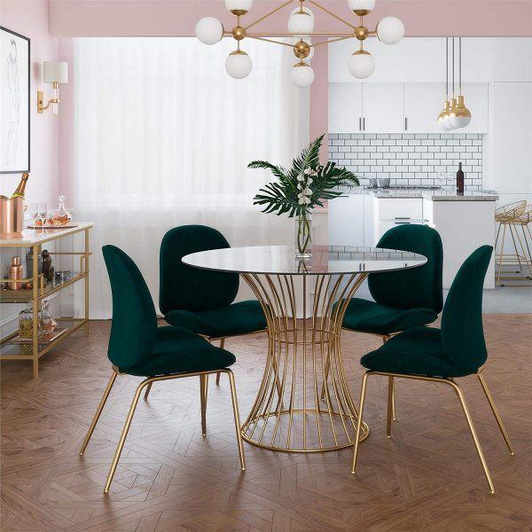 Chiếc bàn ăn tinh tế, xa hoa với mặt kính tròn và chân mạ vàng