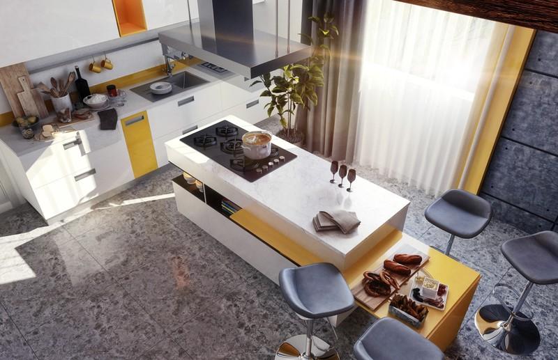 Đảo bếp thường được đặt ở trung tâm của căn bếp, đảo thường được sử dụng để làm bàn ăn sáng, đặt bếp nấu và vòi rửa