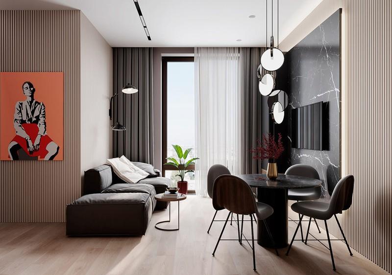 Phòng khách nằm liền kề với phòng ăn. Một cửa sổ lớn với tầm nhìn ra toàn thành phố giúp không gian sử dụng có cảm giác mở và thoáng mát