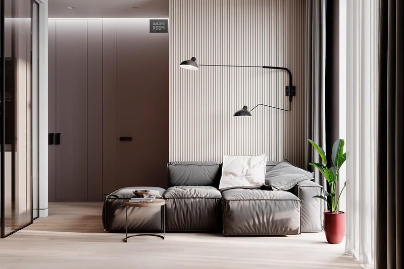 Ghế sofa êm ái vừa để tiếp khách đồng thời có thể làm nơi ngủ tạm.