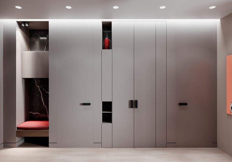Tủ lưu trữ bố trí dọc theo hành lang với một vài điểm nhấn màu đỏ tươi tắn