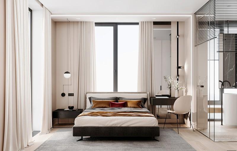 Nội thất bên trong phòng ngủ chính trang trí bằng tông màu kem nhẹ nhàng và mơ mộng