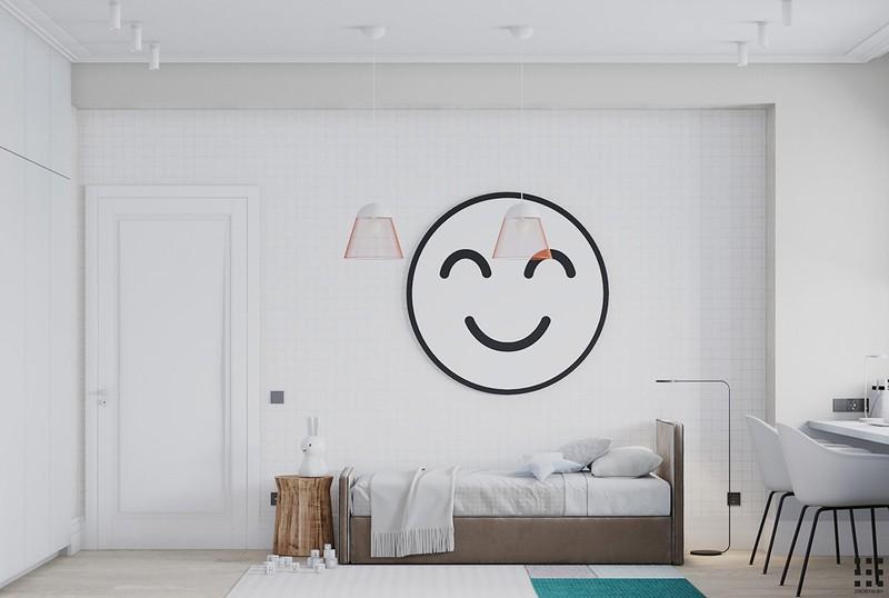 Một khuôn mặt cười chào đón chúng ta trong phòng ngủ trẻ em. Giường của hai đứa trẻ được đặt ở vị trí trung tâm, dọc theo các bức tường để mở đường đến chiếc bàn học gần cửa sổ.